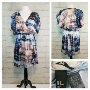 H&M Sz 8 Blue Pink Dolman Sleeve Peplum Mini Dress